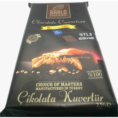 BARLO Premium Series %71.5 Bitter Çikolatalı Kuvertür 2.5 Kg