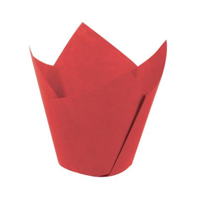 BENS Büyük Tulip Kek Kalıbı Kırmızı (200 adet 160/50 mm)