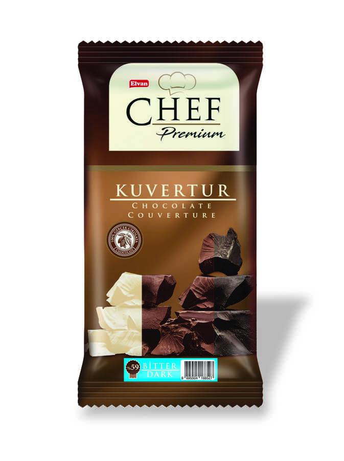 ELVAN CHEF Premium %59 Kakaolu Mini Bitter Kuvertür 200 GR