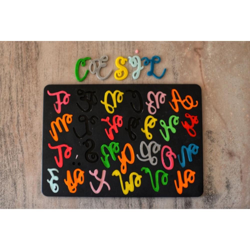 CESİL Kaligrafi Curly Büyük Harf Alfabe Şeker Hamuru Modelleme Kalıbı